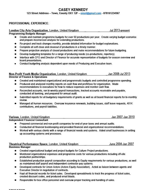 Casey's CV before TopCV